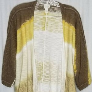 Chico's Yellow Brown Open Light Weight Cardigan 1